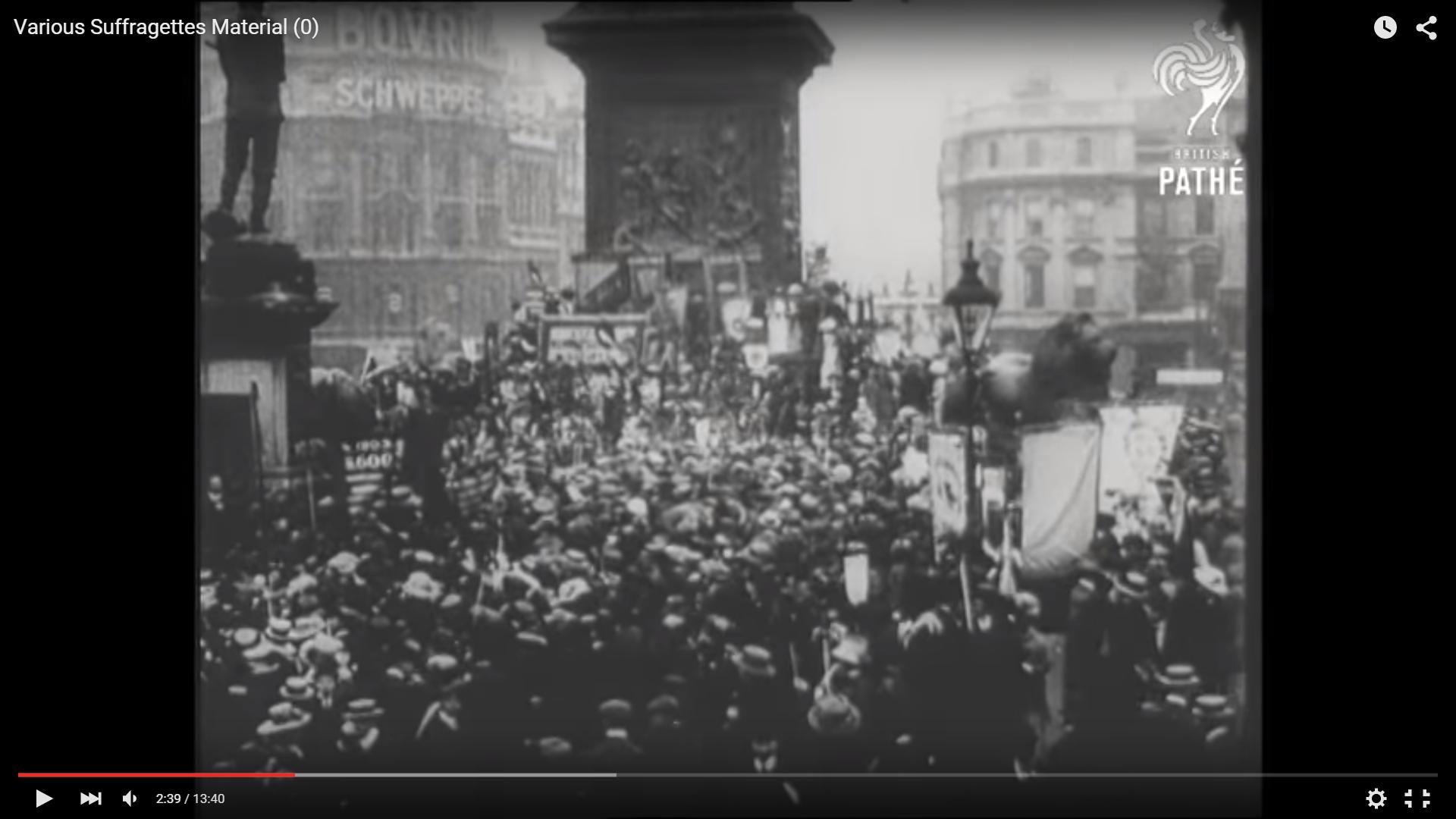 NUWSS Rally Trafalgar Square Pathe Newsreel